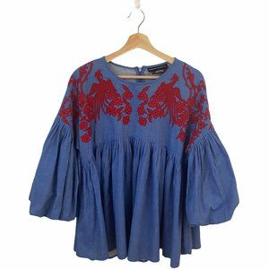 Anthropologie Hemant & Nandita Embroidered Top
